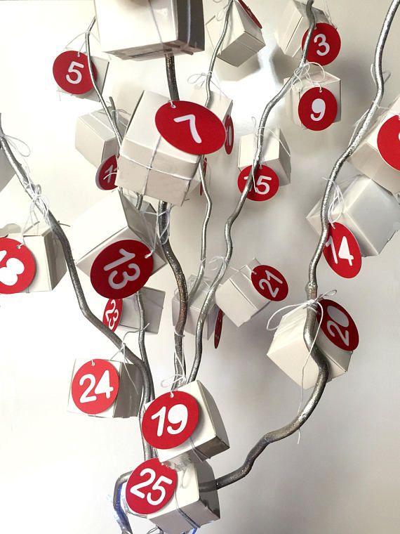advent calendar number gift tags 1 25 xmas noel. Black Bedroom Furniture Sets. Home Design Ideas