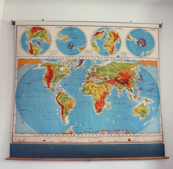 vintage pull-down map. The U.S. and world. | Hubs... Will you please ...
