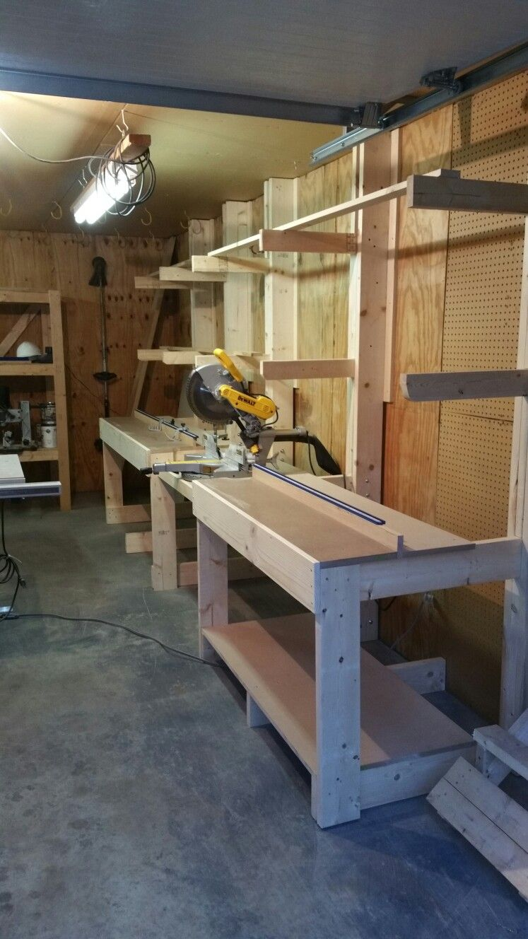 Miter saw station/wood rack. in 2019 | Diy garage work ...