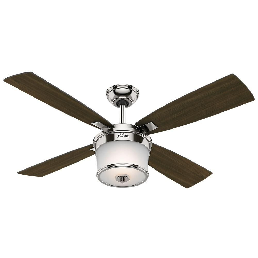 Hunter Kimball 52 In Led Indoor Polished Nickel Ceiling Fan With Light Kit And Universal Remote 59206 Ceiling Fan Ceiling Fan With Light Fan Light