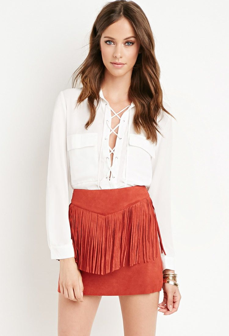 cc6abc4efc Fringed Faux Suede Skirt - NEW ARRIVALS - 2000179536 - Forever 21 UK ...