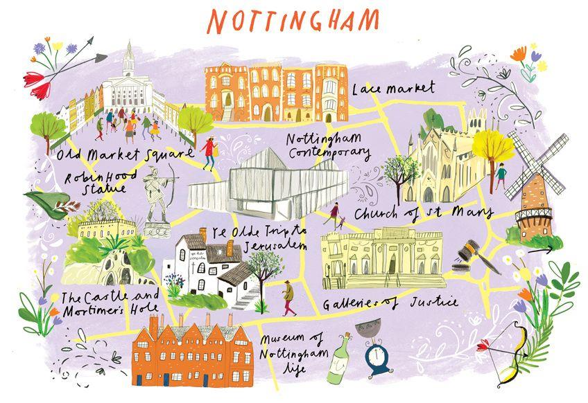 Clair Rossiter Map Of Nottingham Map Nottingham World