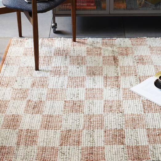 checkerboard flatweave wool rug - sweet potato | west elm | v