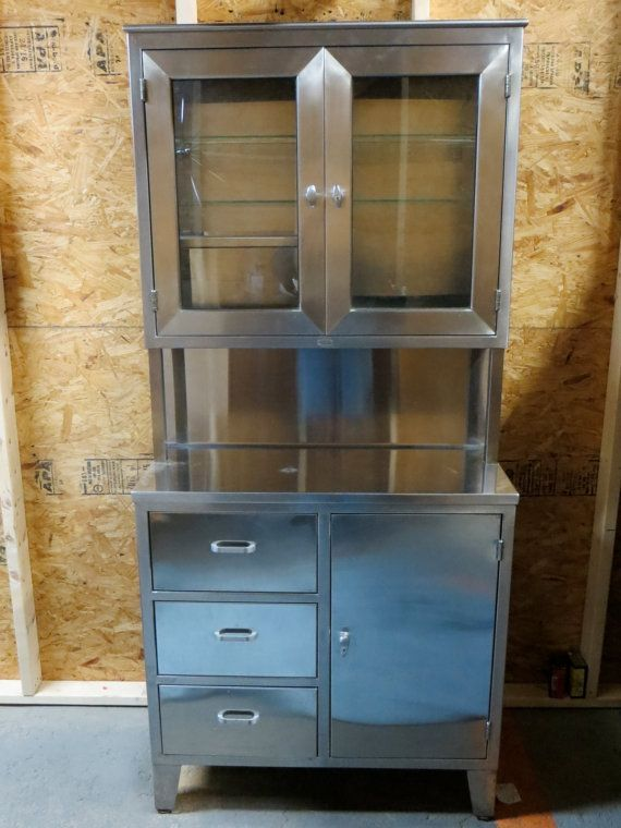 vintage medical cabinet   Vintage 1950's Stainless Steel Medical ...