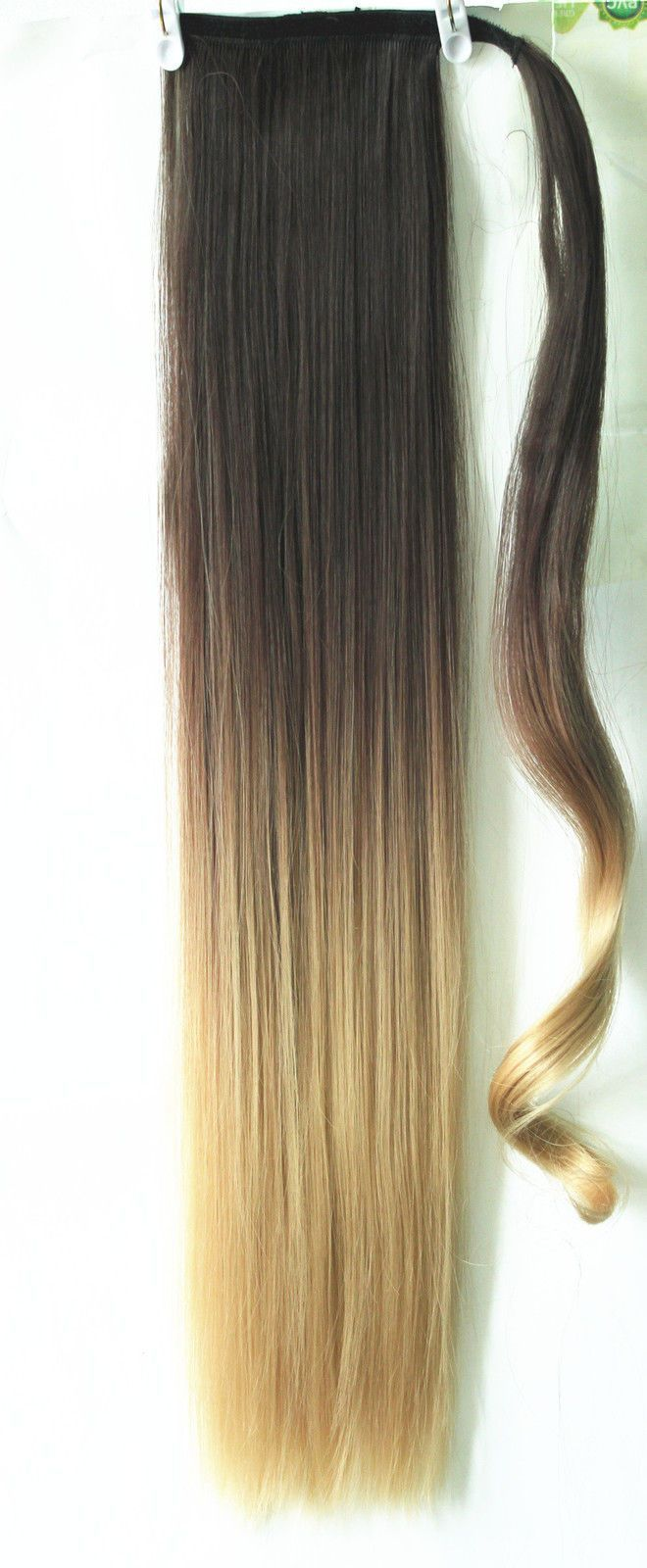 22 Straight Wrap Around Ponytail Clip In Hair Extensions Ombre Dip