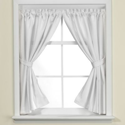 Westerly Bathroom Window Curtain Pair In White Bathroom Window
