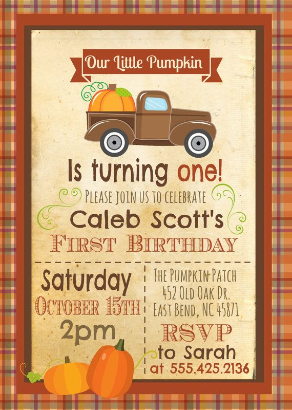 Pumpkin Patch Birthday Party Fall Birthday by themilkandcreamco – Fall Birthday Party Invitations