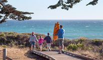 The Castle Inn in Cambria, CA is just steps away from Moonstone Beach and is a perfect affordable hotel for your next unforgettable family vacation.