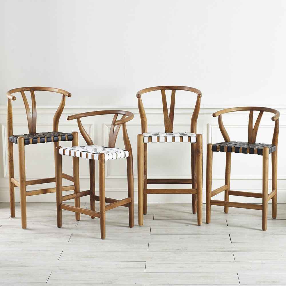 woven leather wishbone stool in 2019 kitchen stools leather rh pinterest com