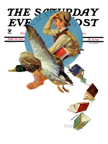 """""""Summer Vacation, 1934"""" Saturday Evening Post Cover, June 30,1934 Giclee Print by Norman Rockwell at Art.com"""