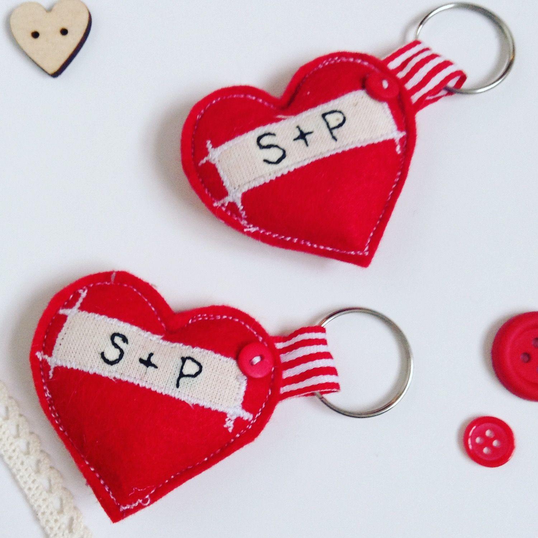 personalised keyring felt keyring Valentine Keyring Heart keyring valentine gift for her,