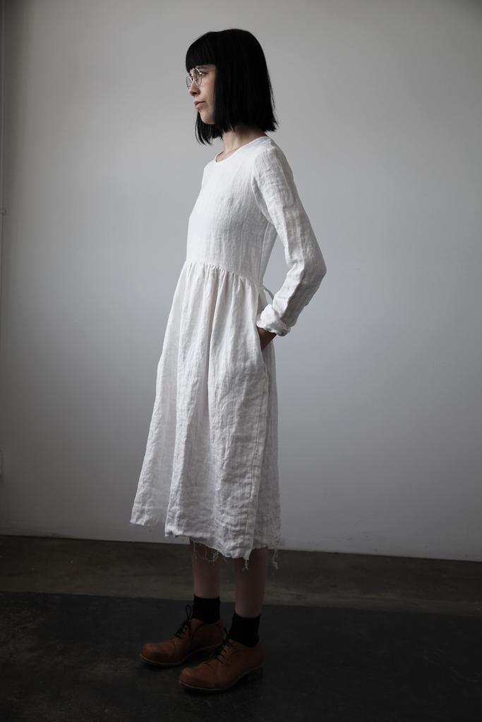 Agnès Dress - White Linen by Ovate | cendre