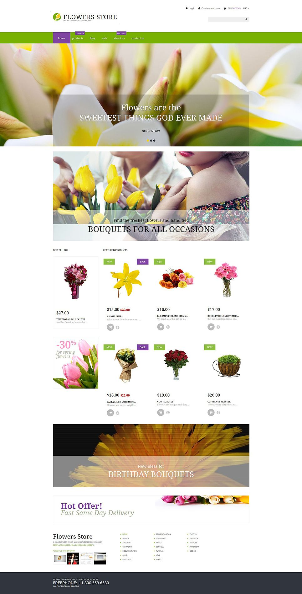 Flower shop responsive shopify theme templatemonster