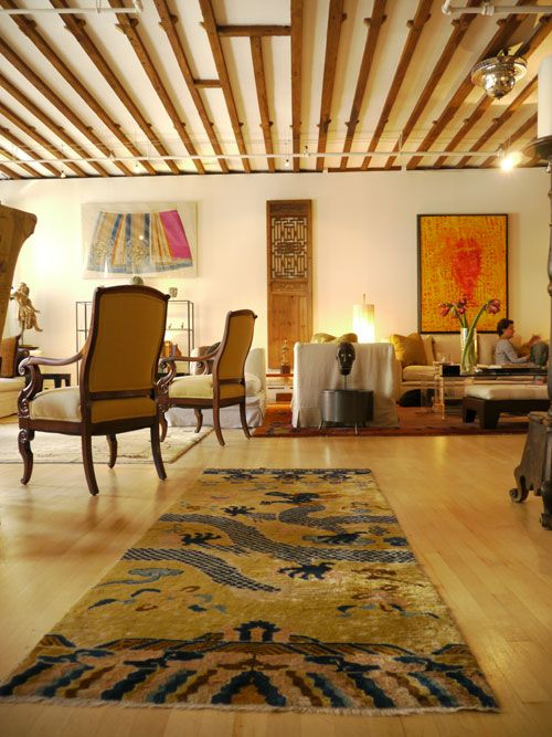 A Stunning Chinese Art Deco Rug Creates A Grand Entrance To The Loft Living  Area Of