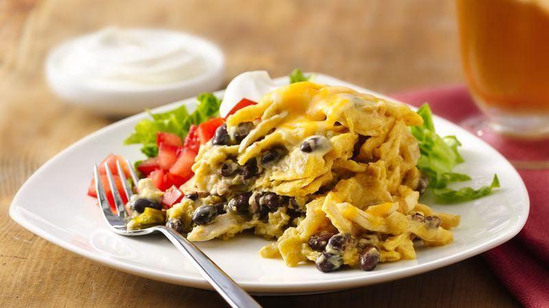 Slow-Cooker Green Chile-Chicken Enchilada Casserole recipe from Betty Crocker