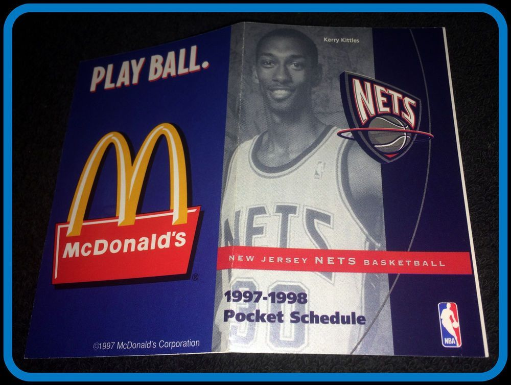 size 40 7d5de b0377 1997-98 BROOKLYN NETS MCDONALDS BASKETBALL POCKET SCHEDULE ...