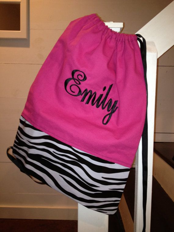 Great Gift for Tween and Teen Girls!    Personalized and Monogrammed Pink and Zebra Cinch Sack - Drawstring Bag - Drawstring Back Pack for girls. $27.00, via Etsy.