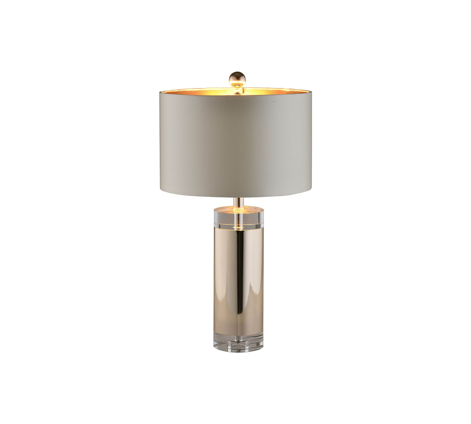 Acrylic and polished silver cylinder base table lamp nina grey acrylic and polished silver cylinder base table lamp nina grey paper shade and silver ball geotapseo Gallery