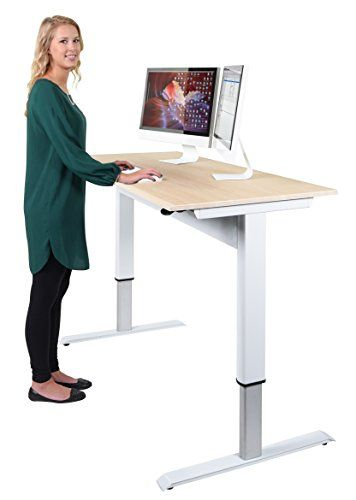 Pneumatic Adjustable Height Standing Desk 56 White Fra Https Www Amazon Com Adjustable Height Desk Adjustable Height Standing Desk Standing Desk Height