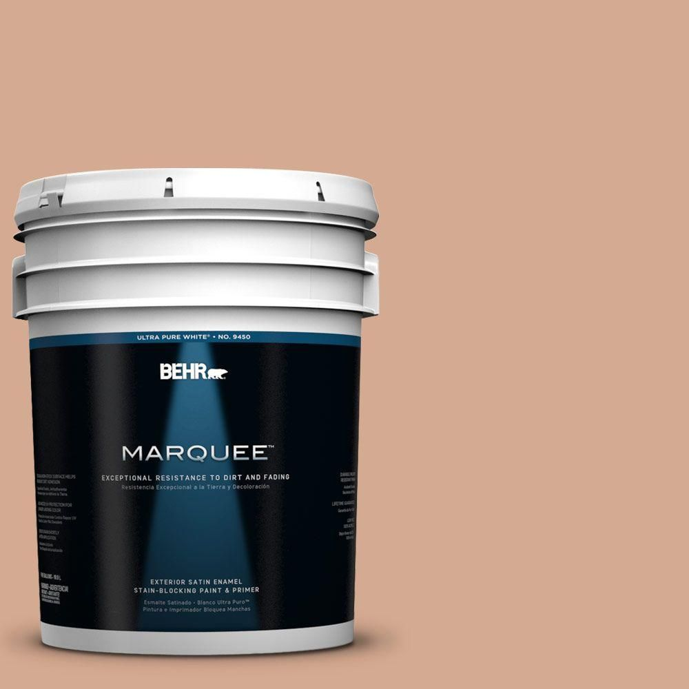 Behr Marquee 5 Gal Qe 02 Salmon Sand Satin Enamel Exterior Paint Primer 945405 The Home Depot Behr Marquee Behr Marquee Paint Exterior Paint