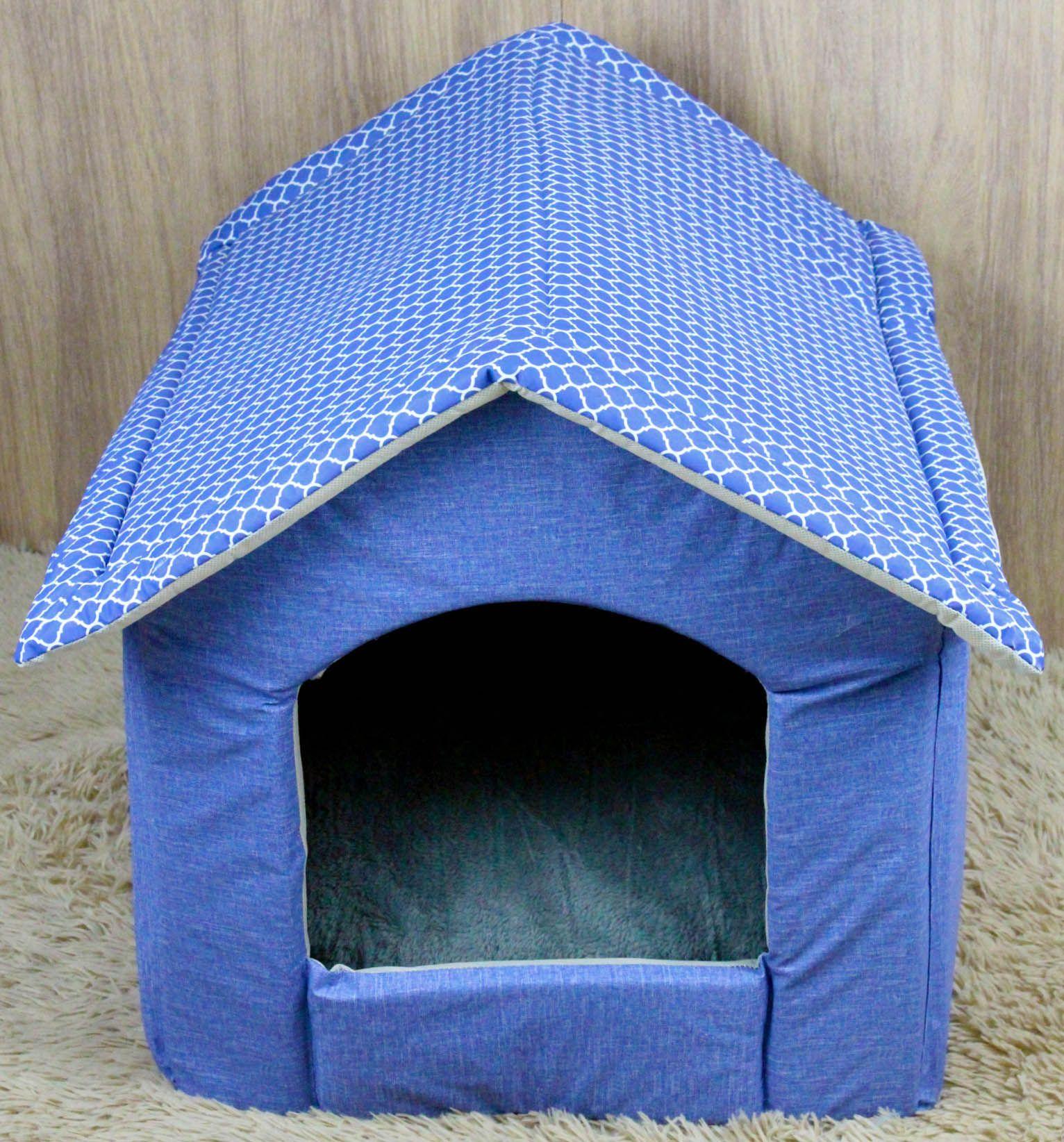Casinha para Cachorro e Gato - Courino e Microfibra Azul Arabescos -  Almofada com Zíper - f6b63d78434