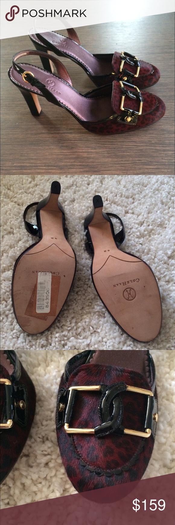 "COlE HAAN Maroon black Calf Hair Heels New, never worn. Has sticker in bottom sole. 3.75"" heel height. Maroon and black print calf hair. Sling back style. Cole Haan Shoes Heels"