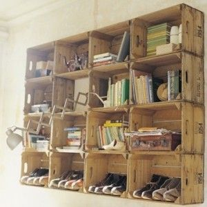 wall mounted natural crates for storage - - leave au natural or paint them to match color scheme