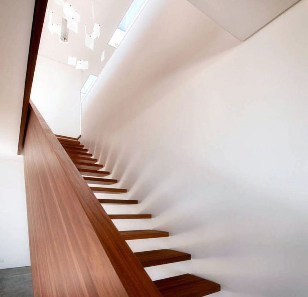 Stained Wooden Floating Staircase And Timber Plank Railing ...
