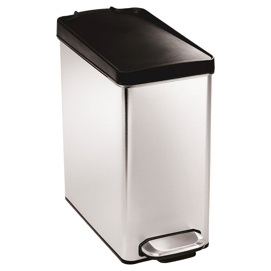 Simplehuman Studio 10 Liter Profile Step Trash Can In Brushed Stainless Steel With Plastic Lid When Yo Kitchen Trash Cans Simplehuman Stainless Steel Bathroom