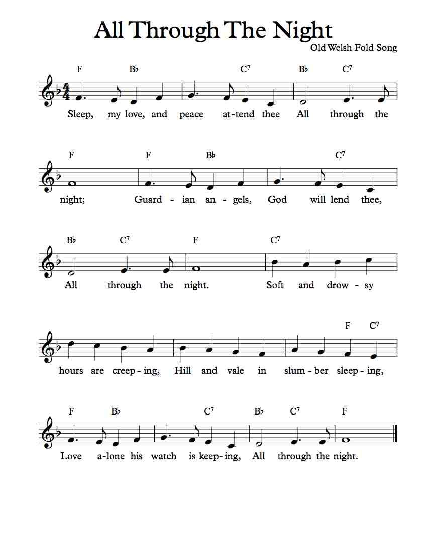 all through the night piano sheet music free download