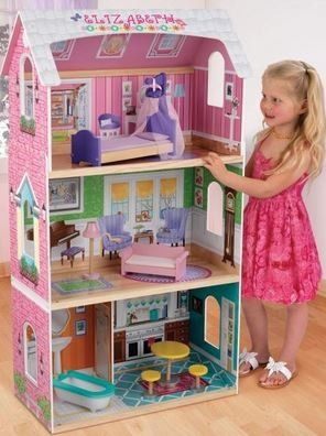 Kidkraft my very own dollhouse with bed bed canopy sofa for Kidkraft lantern floor lamp