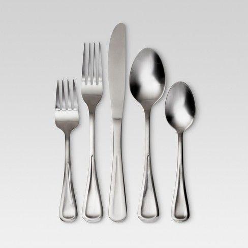 Olisa Satin Silverware Set 20 Pc Stainless Steel Threshold