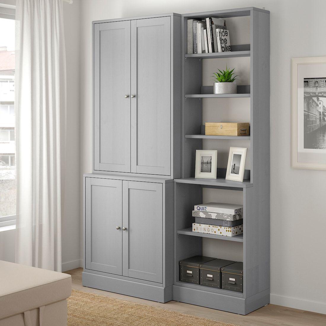 Havsta Storage Combination Gray, Living Room Storage Cupboards Ikea