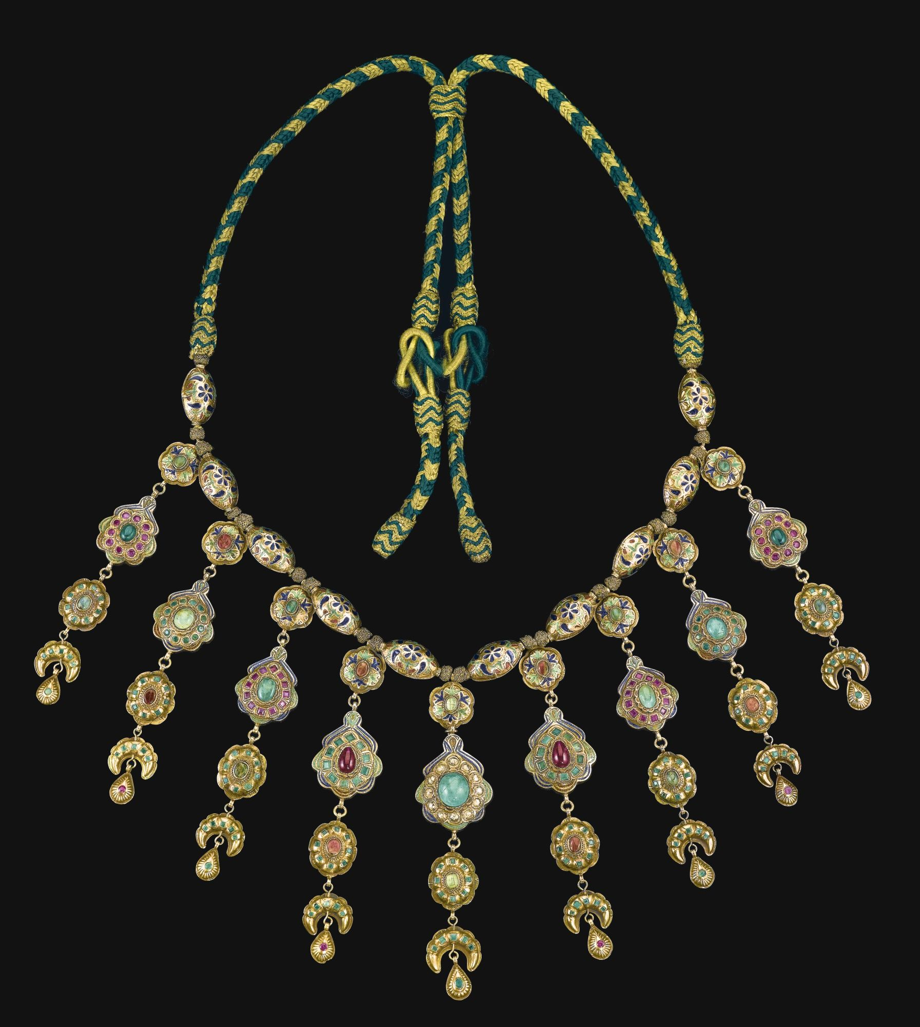 A large gemset and enamelled gold necklace lebba with hanging