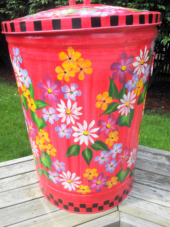30 Gallon Decorative Hand Painted By Krystasinthepointe On Etsy 169 00 Painted Trash Cans Painting Furniture Diy Painting Galvanized Metal