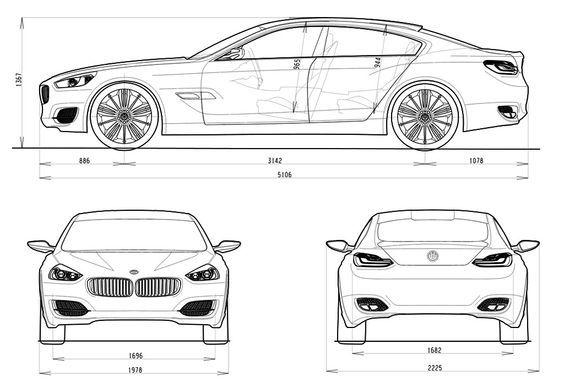 Bmw Cs Concept Blueprint 2007 Car Drawings Blueprints