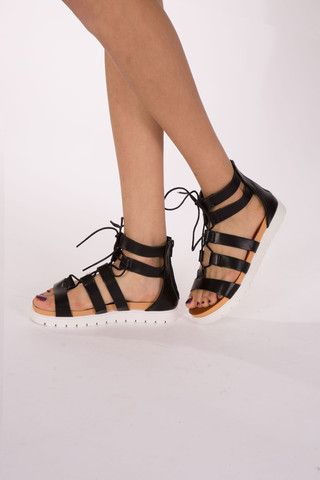 Black lace up sandals. LOVE