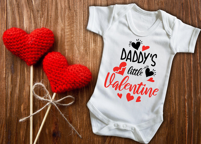 new baby Valentine/'s day Daddy/'s little Valentine white baby grow bodysuit vest