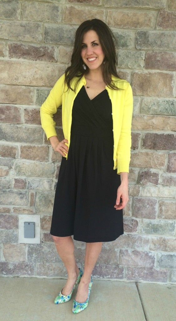 Black Dress, Yellow Cardigan, Floral heels Outfit | Mom Outfits ...