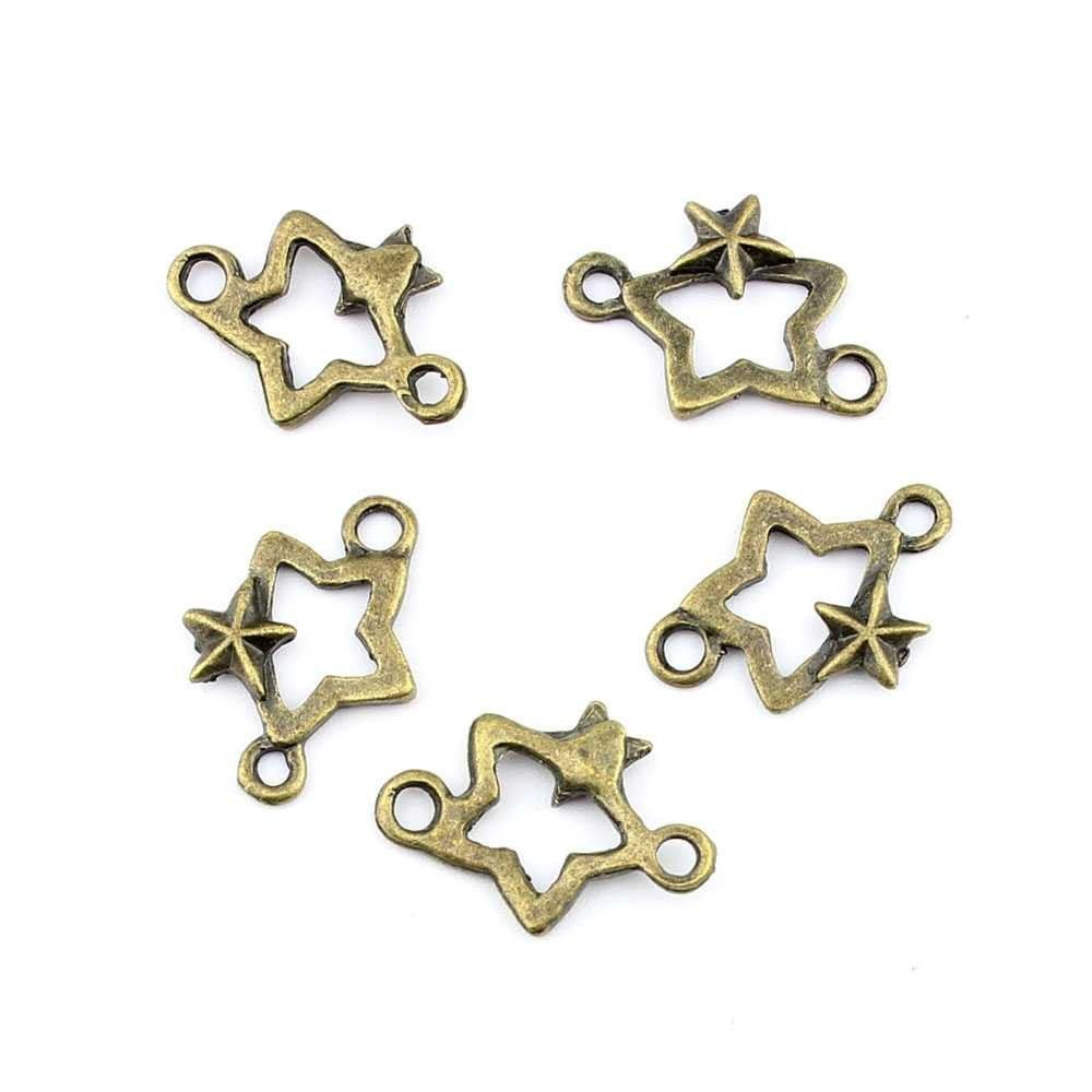 * Penny Deals * - Qty:5PCS Antique Bronze Jewelry Making Charms Findings Supplies Craft Ancient Repair Lots DIY Antique Pendant Vintage Z72855 Five pointed star Connector -- Click image for more details.