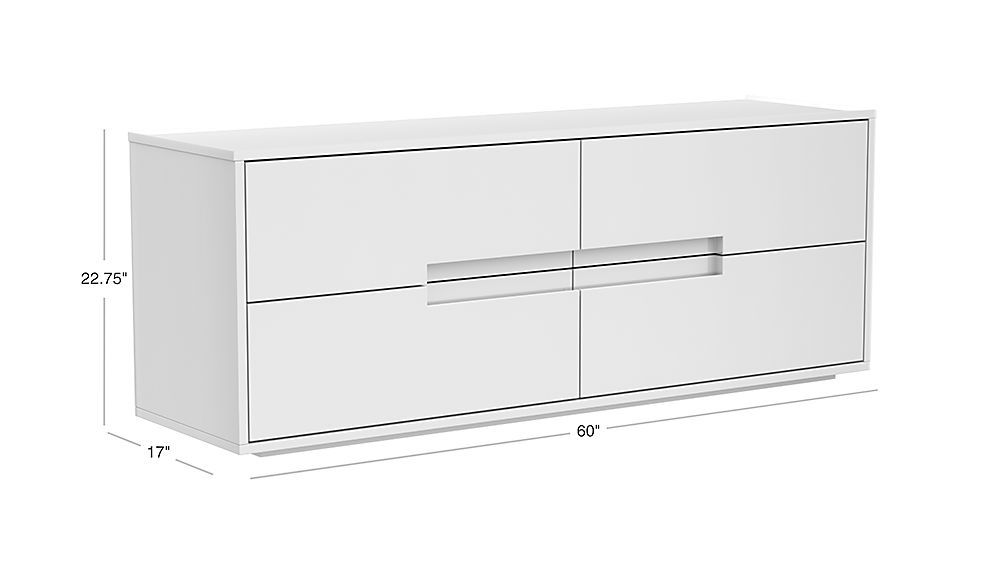 Image With Dimension For Latitude White Low Dresser Low Dresser