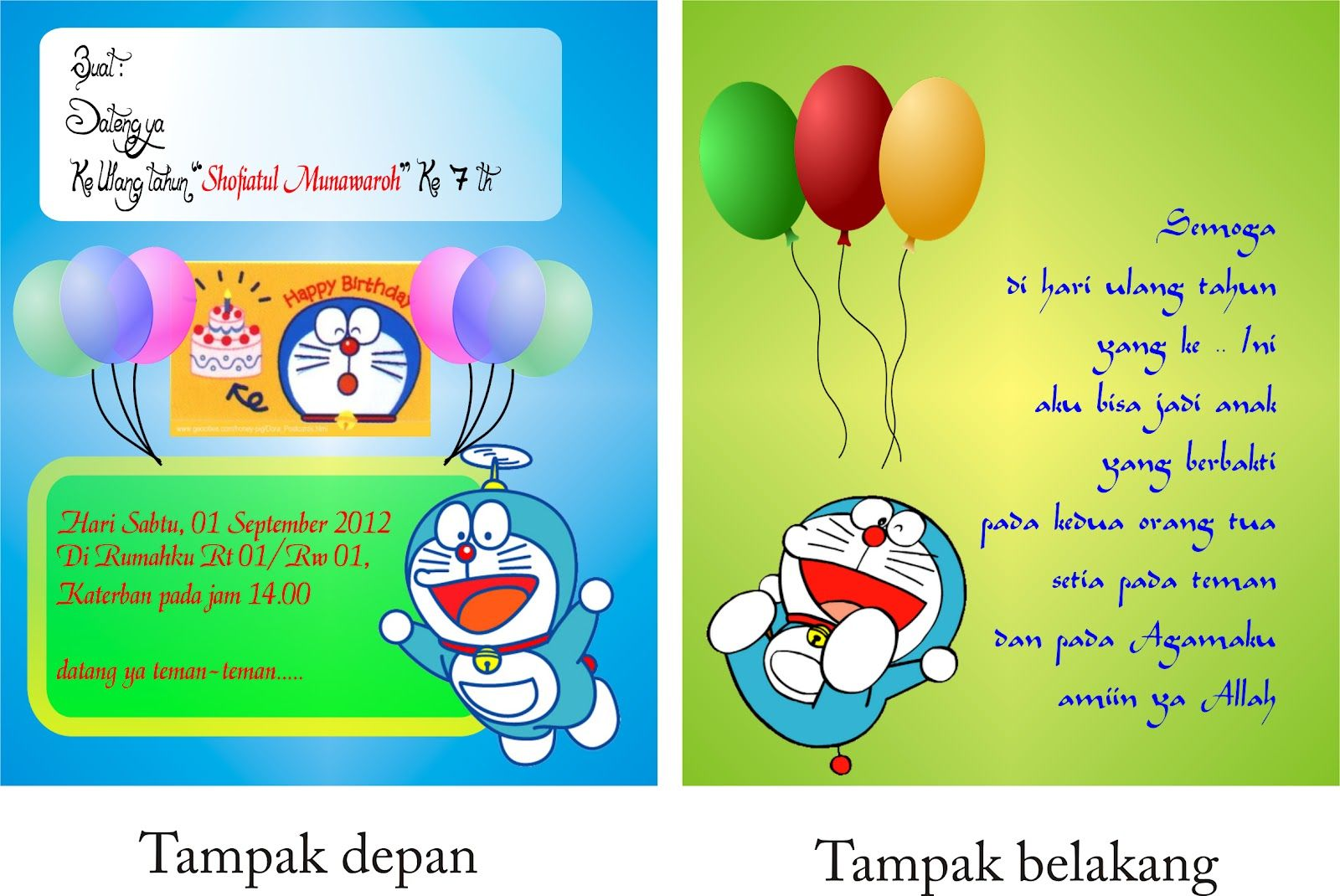 contoh undangan ulang tahun doraemon dengan bahasa inggris