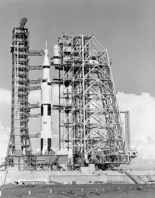 The Mobile Service Structure moves toward the Saturn V sitting on launch pad 39A. July 1, 1969. (Source: NASA)