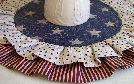 Patriotic Table Runner/  Reversible Table Round by aLittleFrayed