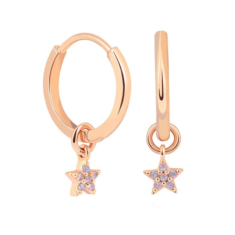 4d32fba5c Image: Mystic Star Pendant Hoop Earrings in Rose Gold in , ,