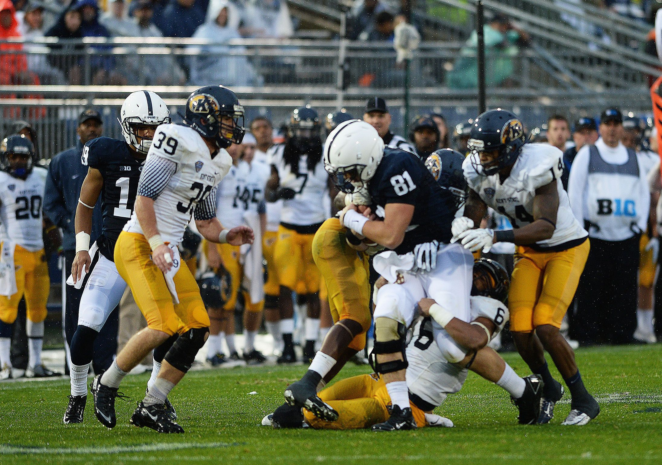 PENN STATE – FOOTBALL 2013 – FRESHMAN tight end Adam Breneman gallops for 27-yard gain, after catching pass from Christian Hackenberg.