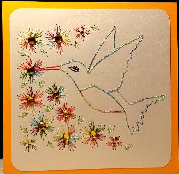 Fadengrafik Grußkarte neutral KOLIBRI Hummingbird von Rene´s Fadengrafiken auf DaWanda.com