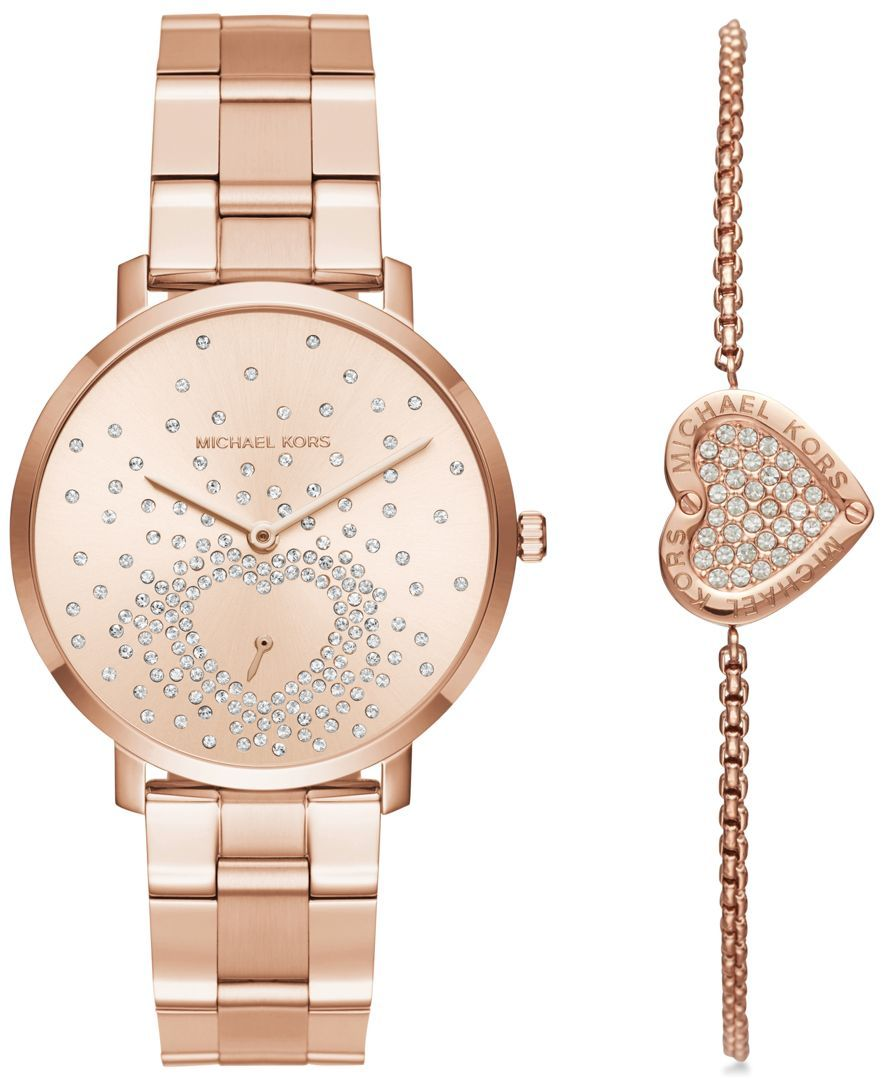 f4e9ba8d5c85 Michael Kors Women s Jaryn Rose Gold-Tone Stainless Steel Bracelet Watch  and Bracelet Box Set 38mm MK3621