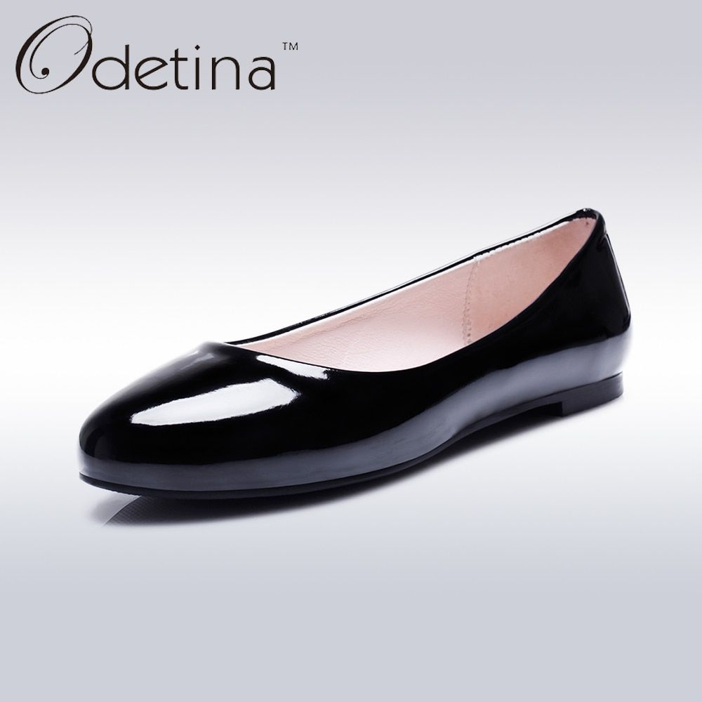 Odetina 2018 Fashion Summer Ladies Ballet Flats Shoes Women Loafers Slip  Ons Ballerina Flat Patent Leather Round Toe Big Size 52 6dd2543175a4