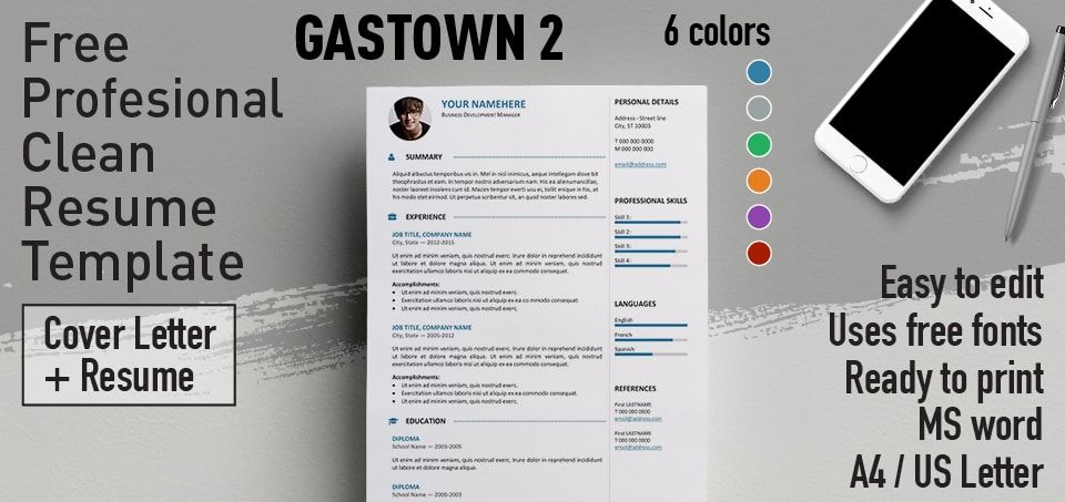 Gastown2 is a 2-column free professional resume template One-page - one page resume or two